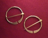 "1 7/8"" Twisted Penannular Brooch Pair c"