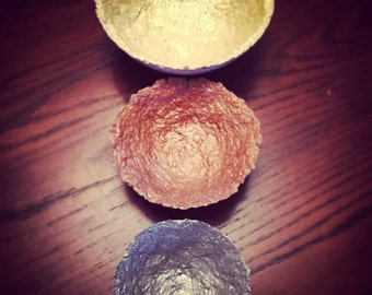 Junk Mail Nesting Bowls ~Handmade Paper - Handpainted ~ Metallics - Gold, Copper, and Silver - set of 3