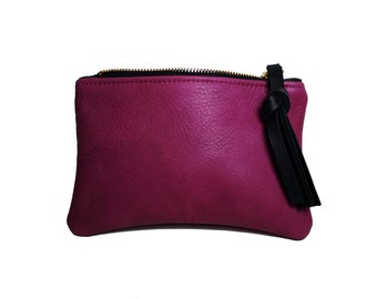 Simple genuine leather pouch in Orchid with black leather fringe pull