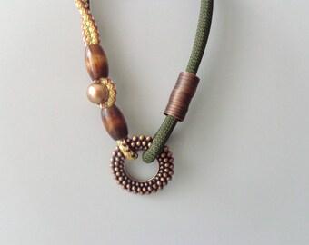 Chunky chaki brown mustard statement necklace
