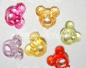 100 Mickey Minnie Mouse Head Charms Shaped Pony Beads for kandi EDC bracelets rave raver Day disney Disneyland Bubblegum Bubble Gum Kid Kids