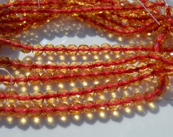 Red Lined Yellow 6mm Fire Polish Round Beads  25