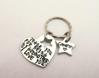 Personalized  Keychain - Godmother Godfather Keychain - Christening Baptism gift - Couples Keychain - Anniversary - Birthdate Keychain