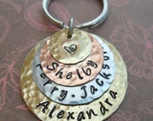 Love Stack Keychain - Personalized Hand Stamped Keychain- 4 Disc Custom Names Words Dates - K62
