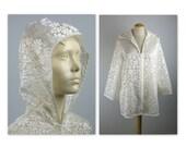 Vintage 70s Hooded Jacket Beachwear M semi sheer burn out daisies