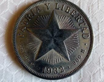 Cuban Silver Star Peso 1932