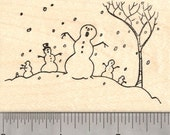 Zombie Apocalypse Snowman Rubber Stamp, Winter Holiday Snowpocalypse K26004  Wood Mounted