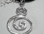 Silver S Swirl Necklace - Spiral Large Pendant - Unique Swirl Jewelry - S Scroll Pendant - Artisan Sterling Silver Swirls