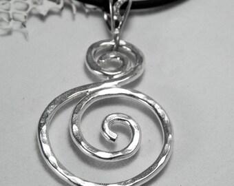 Silver S Swirl Necklace - Spiral Large Pendant - Unique Swirl Jewelry - S Scroll Pendant - Artisan Sterling Silver Swirls
