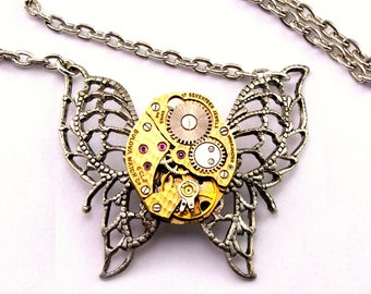 Gold Tone Steampunk Butterfly Necklace Steampunk Watch Pendant Steampunk Jewelry Steampunk Wedding Pendant Silver plated London Particulars