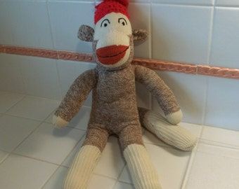 "Vintage Handmade 18"" Monkey Sock Doll...Embroidered Eyes"