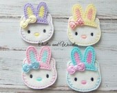 Kitty With Bunny Ears Felt Appliques, Easter Kitty Embroidered Appliques, Easter Appliques, Set of 4 Bunny Appliques, Bunny Kitty Felties