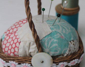 Vintage Quilt Pin Cushion Upcycled with MOP button Daisy Trim in Wicker Basket