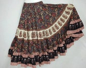 25 yd Block Print Veg Dye Skirt Unleash the gypsy Black Rust Red tribal fusion ATS Flamenco
