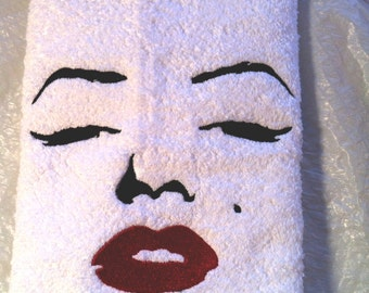 Marilyn Monroe Facial Outline II - Embroidered Terrycloth Hand Towel - With or Without Washcloth - by Becky