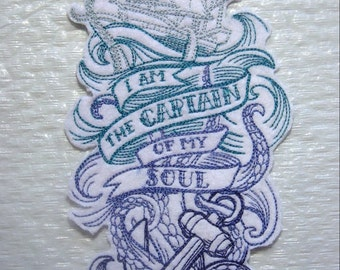 "I am the Captain of my Soul - Nautical Iron on Applique - Choice of Color Scheme - Patch 7.25"" x 3.75"" - FREE U.S. SHIPPING"