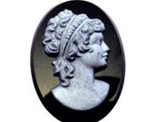 1 Vintage 30x22mm 3D Hematite Cameo of Victorian Woman, Gray on Jet Black Hematite Background, Victorian Style Flat Back Cabochons