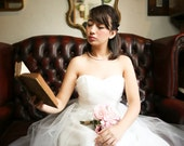 Tulle Midi Length Strapless Wedding Dress - Made to Order