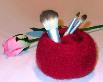 Handmade Red Felted Bowl / Vessel with 3 Compartments - Wool-Mohair Blend