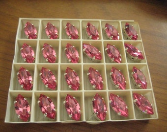 Lot of 6 15x7mm Rose 4200/2 Navette Shaped Swarovski Rhinestones in Red Brass or Silver Plated Brass Settings