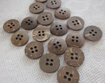 18 Small Dark Coconut Shell Buttons