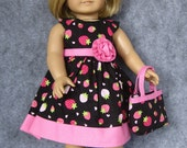 Flirty Black & Pink Strawberry Dress and Tote for American Girl