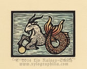Unique Capricorn handcolored 23k gold gilded zodiac astrological woodcut print 6x5