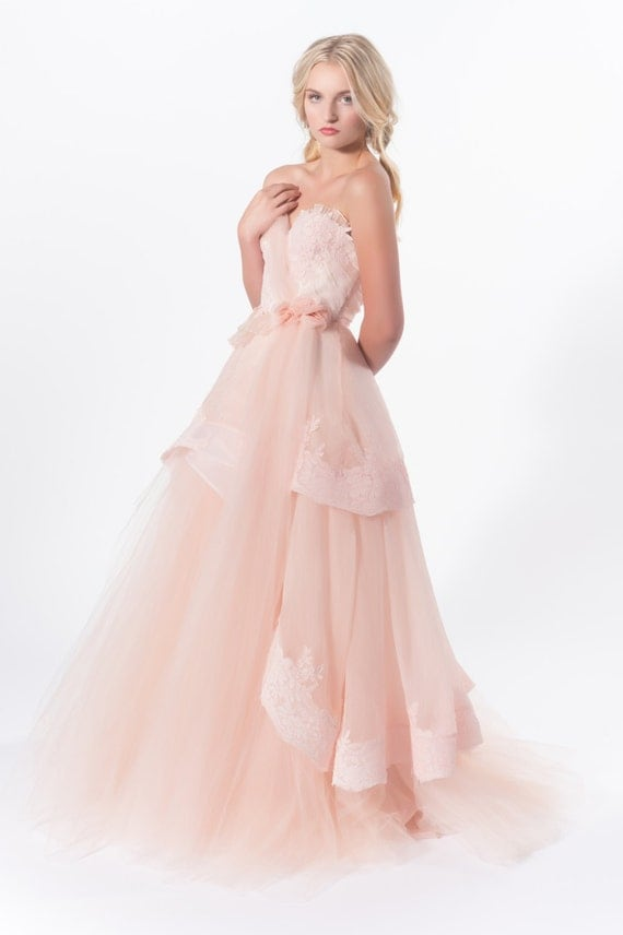 Items Similar To Swan Song Romantic Silk Organza And Tulle Wedding Gown On
