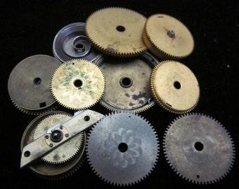 12 Antique Vintage Clock Watch Parts Cogs Gears Assemblage Steampunk Industrial Art  CG 72