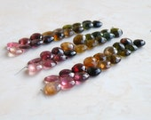 Outstanding Tourmaline Gemstone Briolette Faceted Heart Pink Green Yellow 9.5mm 17 beads