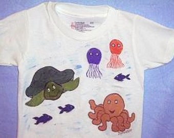 Ocean Shirt, Fish and Turtle Shirt, Sea Life T-shirt, Ocean Critters