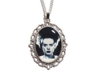 The Bride of Frankenstein necklace pendant silver UNIVERSAL STUDIOS 1935 gothic goth