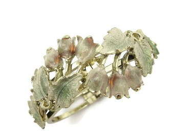 Vintage Clamper Bracelet - Canterbury Bells Lily of the Valley Flowers