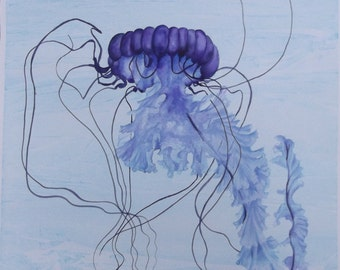 Indigo Jellyfish No.10 - Original Painting
