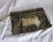 OOAK Make-up bag in recycled and vintage fabrics. In our Leaf design. Chocolate and lime