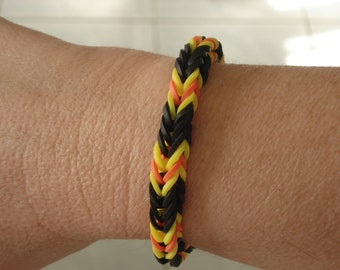 Rainbow Loom Halloween Colors Fishtail Bracelet