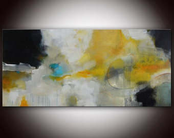 "Blue Hole by Andrada, 30""x72"", mixed media on canvas, 2014 - gold aqua blue abstract"