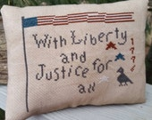 Primitive Decorative Pillow Patriotic Americana Flag, Star & Crow Cross Stitch Pillow Cupboard Tuck