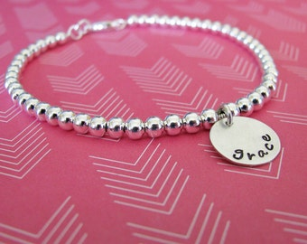 silver bead bracelet - customize with hand stamped initial or name charm