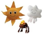 Itsy Bitsy Spider Finger Puppet Set of Sun, Cloud, Spider