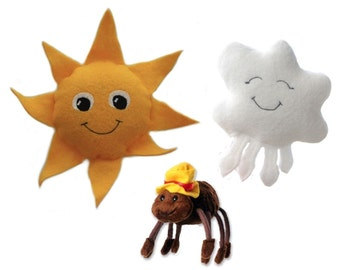 Itsy Bitsy Spider Finger Puppet Set of Sun, Cloud, Spider