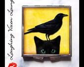 Black Cat Pill Box - Black Cat Compact Mirror - Raven Pill Box - Black Cat And Raven Compact - Raven Compact Mirror - Pill Case - Pillbox