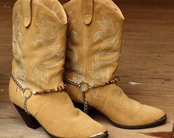 Bold Tigers Eye Gemstone Western Cowboy Boot Jewelry