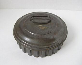 Vintage Covered Primitive Tin Jello Pudding Mold Kitchenware