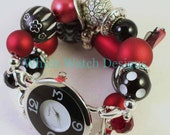 Shabby Chic Crimson Tide.. Chunky Red, Black and White Interchangeable Beaded Watch Band