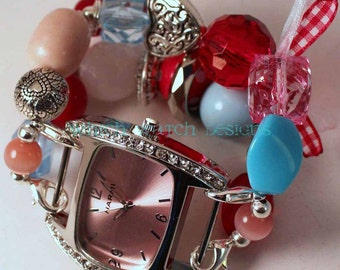 Shabby Chic Queen of Hearts.. Darling Red, Pink, and Baby Blue Interchangeable Beaded Watch Band