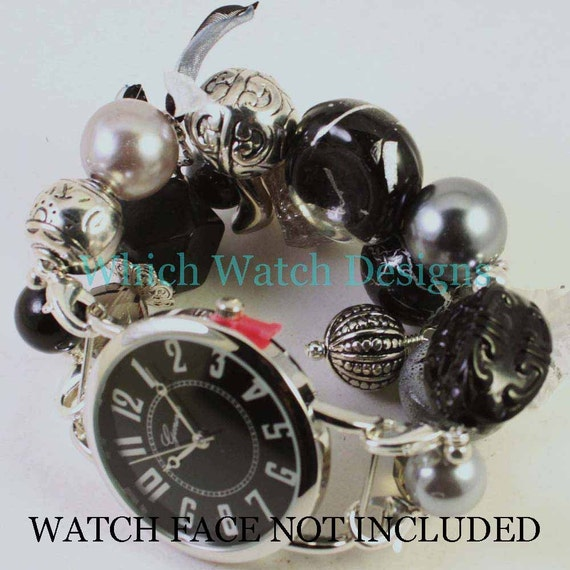 Shabby Chic Grayscale.. Chunky Black, Gray and Clear Interchangeable Beaded Watch Band