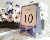 Table Sign in Custom Colors, Fonts with Ribbon Bow, Tent or Easel Back, Medium Size for Wedding Reception - The Bistro Collection Sample
