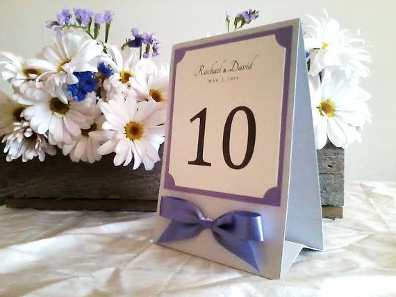 Table Sign in Custom Colors, Fonts with Ribbon Bow, Tent or Easel Back, Medium Size for Wedding Reception - The Bistro Collection
