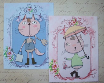 ADORABLE CaT Gift Tags Or CARDS - Stationery - Kids Stationery- Tags - Funny Cats - Cute - Your choice of Flat or Folded - CNC 88797